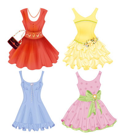 Ilustración de set of festive dresses for girls - Imagen libre de derechos