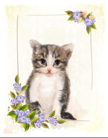 Illustration pour Vintage postcard with kitten.  Imitation of watercolor painting. - image libre de droit