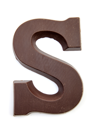 Photo pour Chocolate letter S for Sinterklaas, event in the Dutch in december over white background - image libre de droit
