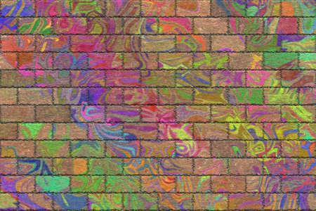 fading graffiti brick wall