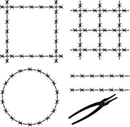 barbed wire. stencil. vector illustration