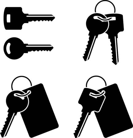 set of keys. stencil. first variant. vector illustration