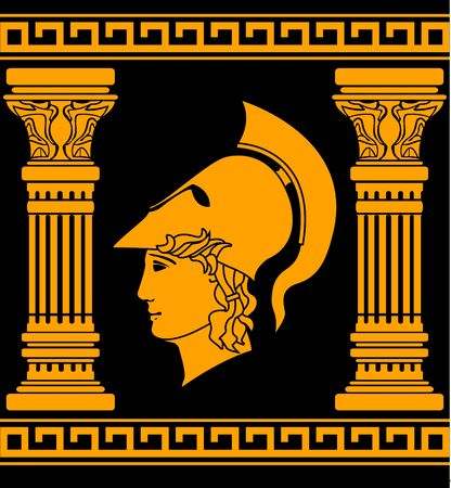 memory of ancient warrior. stencil. illustration