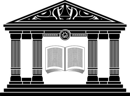 Illustration pour ancient hellenic school. stencil.   - image libre de droit