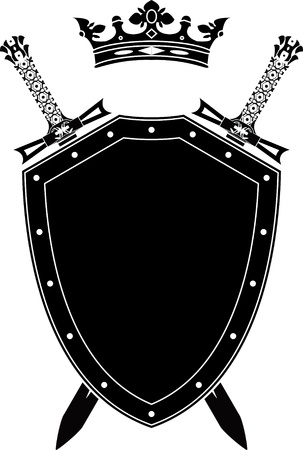 shield, swords and crown. stencil. vector illustration