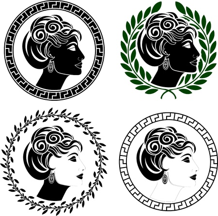 set of roman woman profiles. stencils. vector illustration