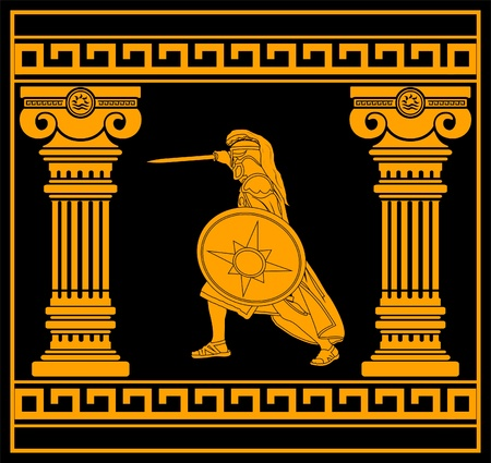 fantasy warrior with columns. fourth variant. vector illustration