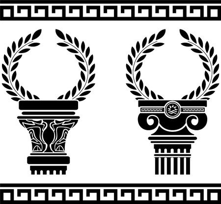 greek columns with wreaths. stencil.