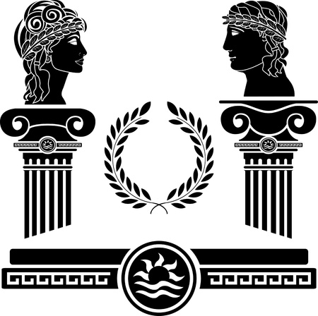 greek columns and human heads. vector illustration