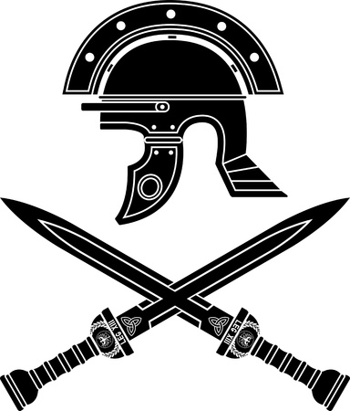 roman helmet and swords  fifth variant illustration