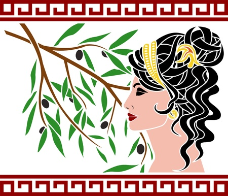 Aphrodite and olive branch.