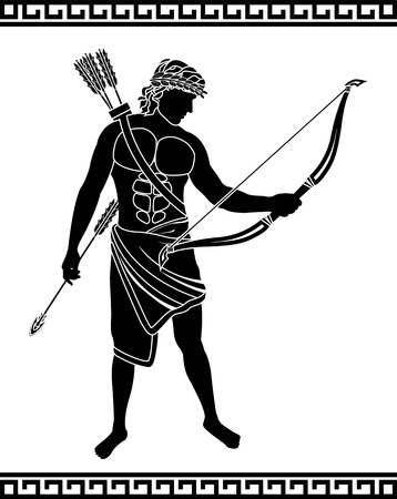 ancient bowman  stencil illustration