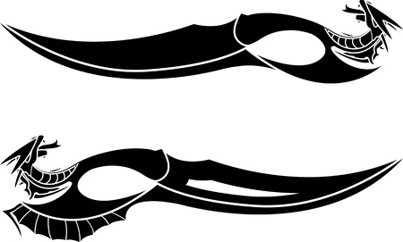 dragons daggers  stencils  vector illustration