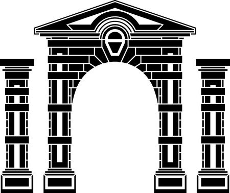 fantasy arch and columns  stencil  eighth variant  vector illustration