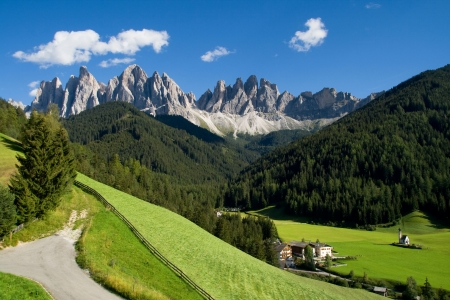 Valley of Funes  Villnoss  with the Odle mountains in the background, Dolomites, Italy