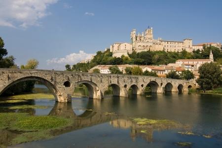 Pont Vieux  Old Bridge  over the river Orb, Beziers, France