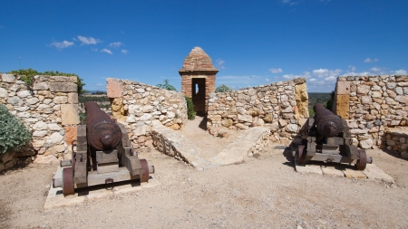 Cannons on the walls of the old town of Tarragona, Spain