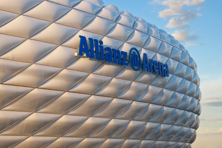 Munich, Germany - October 24, 2006: Detail of the membrane shell of the football stadium Allianz Arena in Munich, Germany, designed by Herzog & de Meuron and ArupSport and built between 2002 and 2005.