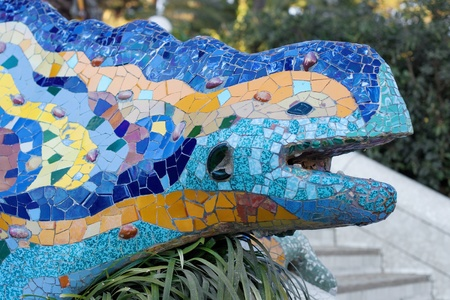 Famous Dragon sculpture in Park Guell, Barcelona, Catalonia