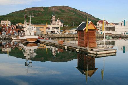 Husavik, Iceland - August 16, 2013: Port of Husavik in northern Iceland.