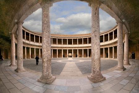 Courtyard of the Palace of Charles V  Palacio de Carlos V  in La Alhambra, Granada, Spain