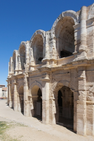 Exterior arcades of the Arena of Arles, France