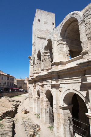 Tower and Arcades of the Roman Amphitheatre of Arles, Provence, France