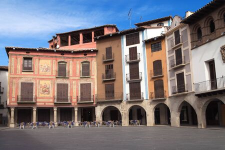 Graus, Spain - March 24, 2016: Plaza Mayor, main square of the old town of Graus, Spain.