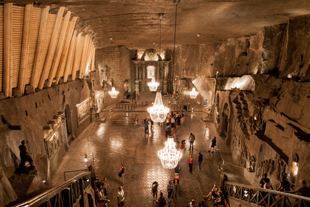 Wieliczka, Poland - August 13, 2015: Chapel of Saint Kinga in the Wieliczka Salt Mine, Poland. In 1978 it was placed on the original UNESCO list of the World Heritage Sites.