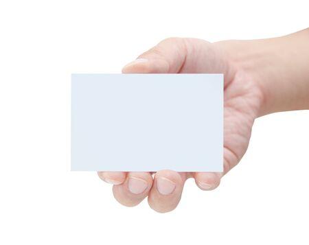 Photo pour Male hand holding blank card  - image libre de droit