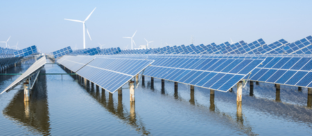 Photo for Photovoltaic installations on the surface of the water - Royalty Free Image