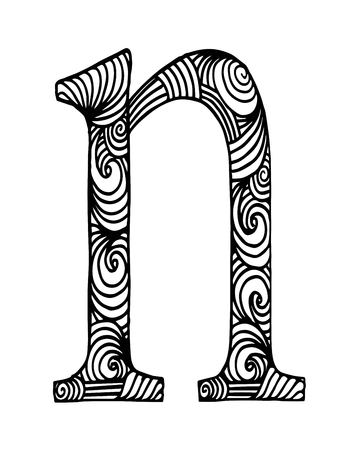 Zentangle Stylized Alphabet Letter N In Doodle Style Hand Drawn