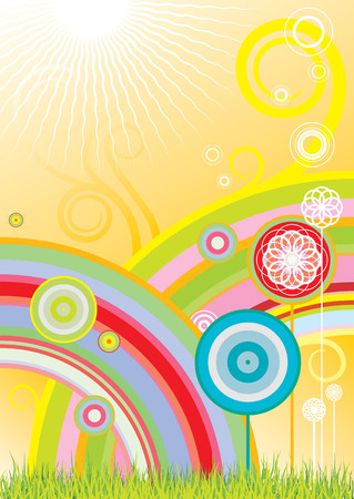 Vector background with rainbows and flowers