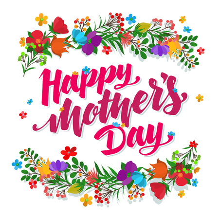 Ilustración de Lettering Happy Mothers Day beautiful greeting card. Bright vector illustration. - Imagen libre de derechos