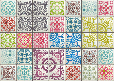 Illustration pour Seamless patchwork tile with Victorian motives. Majolica pottery tile, original traditional Portuguese and Spain decor. - image libre de droit