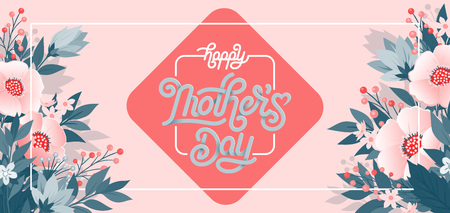 Illustration for Happy Mothers Day beautiful greeting card. - Royalty Free Image