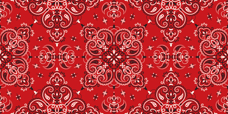 Ilustración de Seamless pattern based on ornament paisley Bandana Print. Boho vintage style vector background. Silk neck scarf or kerchief square pattern design style, best motive for print on fabric or papper. - Imagen libre de derechos