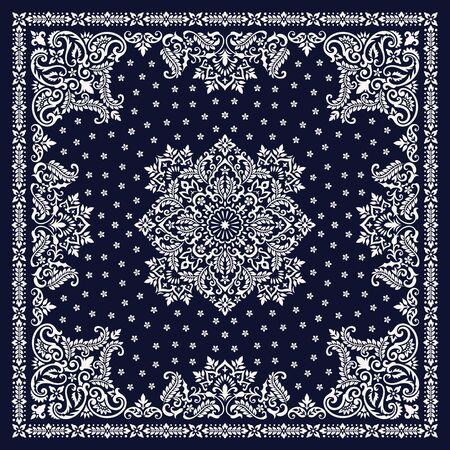 Ilustración de Vector ornament Bandana Print. Traditional ornamental ethnic pattern with paisley and flowers. Silk neck scarf or kerchief square pattern design style - Imagen libre de derechos