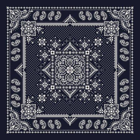 Illustration pour Vector ornament paisley Bandana Print. Silk neck scarf or kerchief square pattern design style, best motive for print on fabric or papper. - image libre de droit