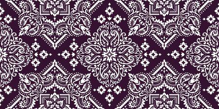 Illustration pour Rectangular seamless Bandana Print vector design for rug, carpet, tapis, shawl, towel, textile, yoga mat. Neck scarf or kerchief pattern design. Traditional ornamental ethnic pattern with paisley. - image libre de droit