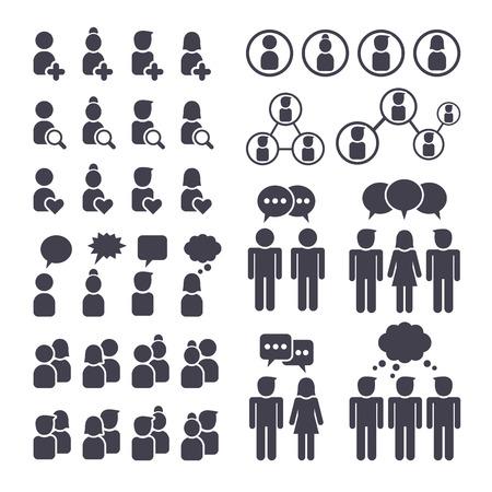 Vektor für Social network people connection, man and woman black icons set - Lizenzfreies Bild