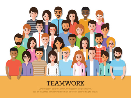 Ilustración de Group of people at work with teamwork banner on white background. Flat design characters. - Imagen libre de derechos