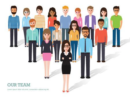 Ilustración de Group of people at work on white background. Flat design characters. - Imagen libre de derechos