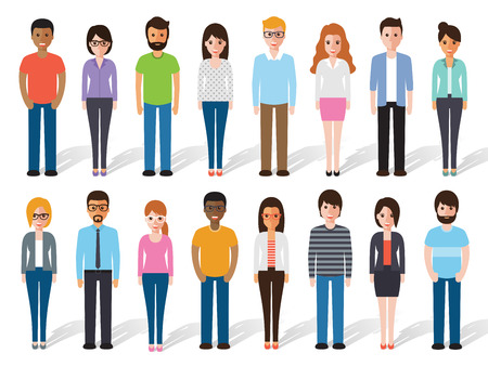 Ilustración de set of working people standing on white background. Flat design characters. - Imagen libre de derechos
