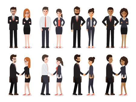 Ilustración de Group of people at work with handshaking on white background. Flat design characters. - Imagen libre de derechos