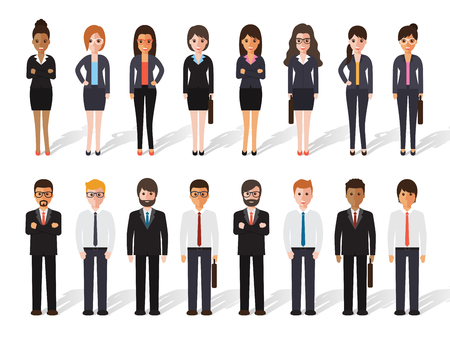 Illustration pour set of working people standing on white background. businessman and businesswoman in flat design characters. - image libre de droit
