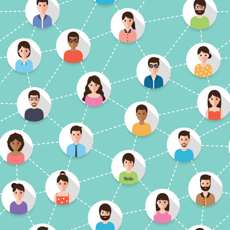 Ilustración de Connected people and social network seamless pattern. Flat design people characters. - Imagen libre de derechos