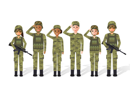 Foto per Group of US army, military people, man and woman soldiers. Flat design people characters. - Immagine Royalty Free