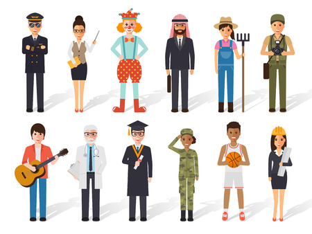 Set of diverse occupation profession people. Flat design people characters.