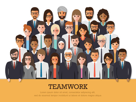 Illustration for Group of businessman and businesswoman people at work with teamwork banner on white background. Business team and teamwork concept in flat design people characters. - Royalty Free Image